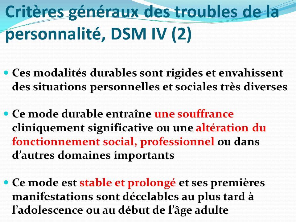 Critères généraux des troubles de la personnalité, DSM IV (2)