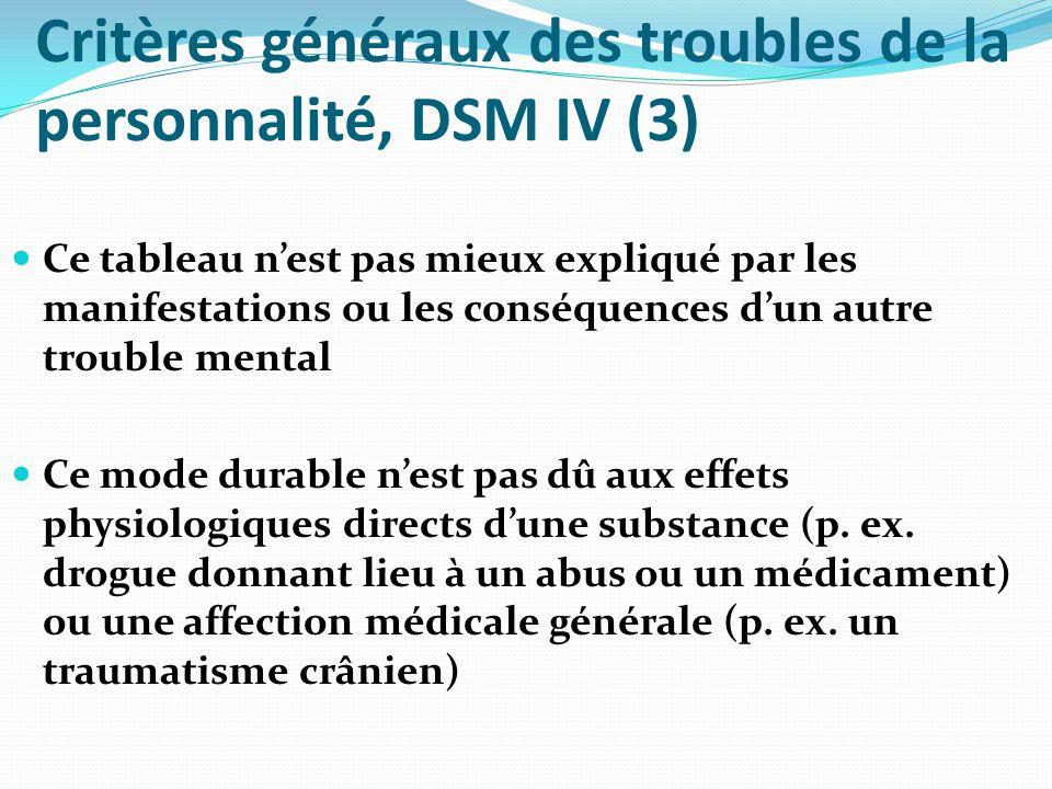 Critères généraux des troubles de la personnalité, DSM IV (3)