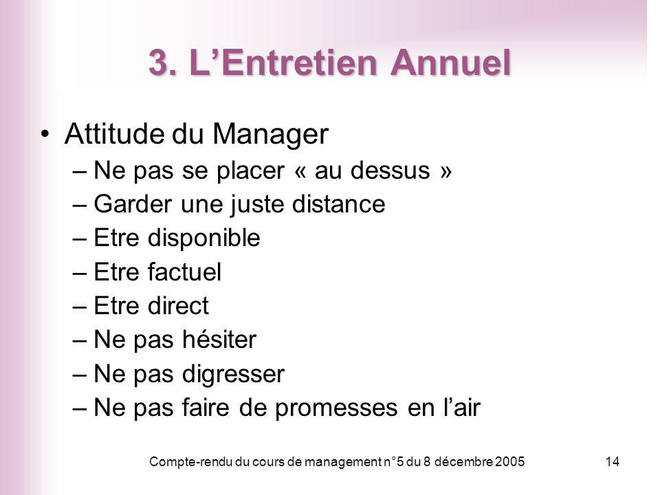 Compte-rendu du cours de management n°5 du 8 décembre 2005