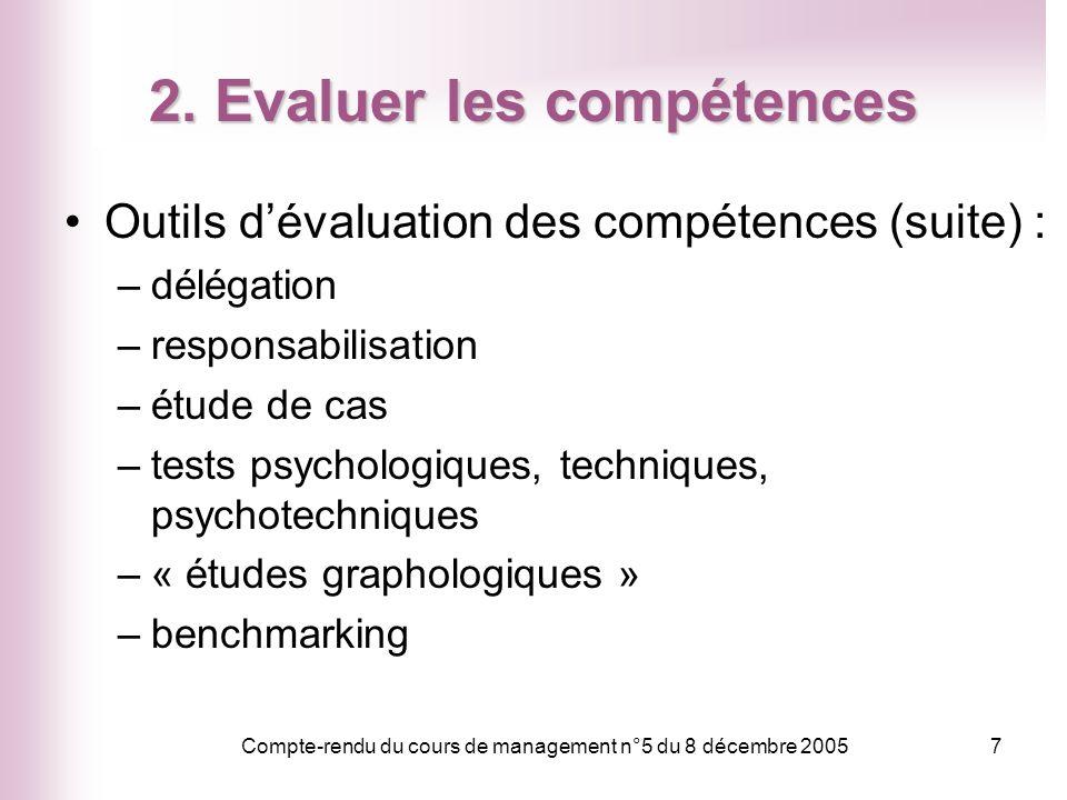 2. Evaluer les compétences