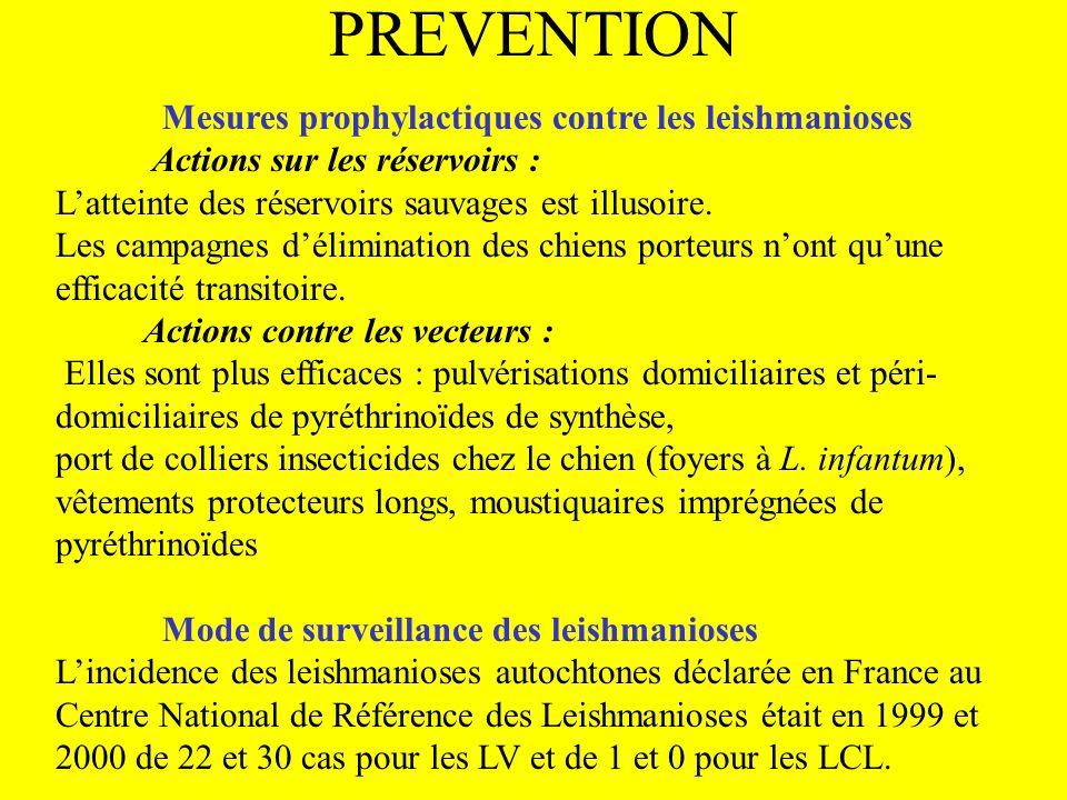 PREVENTION Mesures prophylactiques contre les leishmanioses Actions sur les réservoirs :