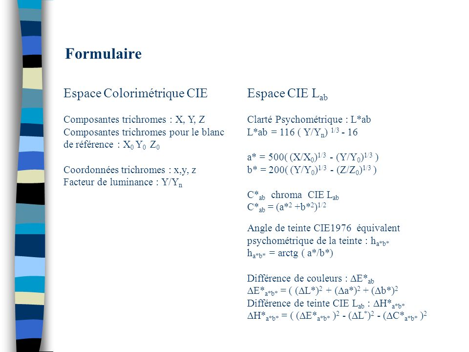 Formulaire Espace Colorimétrique CIE Espace CIE Lab