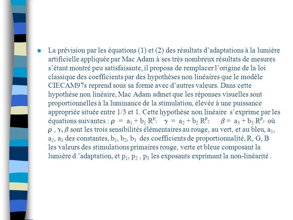 La prévision par les équations (1) et (2) des résultats d'adaptations à la lumière artificielle appliquée par Mac Adam à ses très nombreux résultats de mesures s'étant montré peu satisfaisante, il proposa de remplacer l'origine de la loi classique des coefficients par des hypothèses non linéaires que le modèle CIECAM97s reprend sous sa forme avec d'autres valeurs.