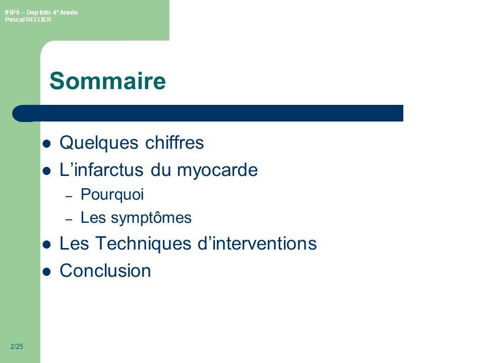 Sommaire Quelques chiffres L'infarctus du myocarde