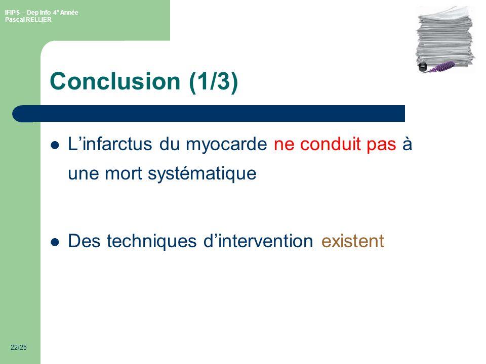 Conclusion (1/3) L'infarctus du myocarde ne conduit pas à une mort systématique.