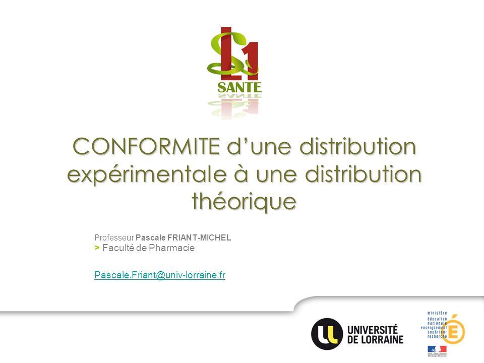 CONFORMITE d'une distribution expérimentale à une distribution théorique