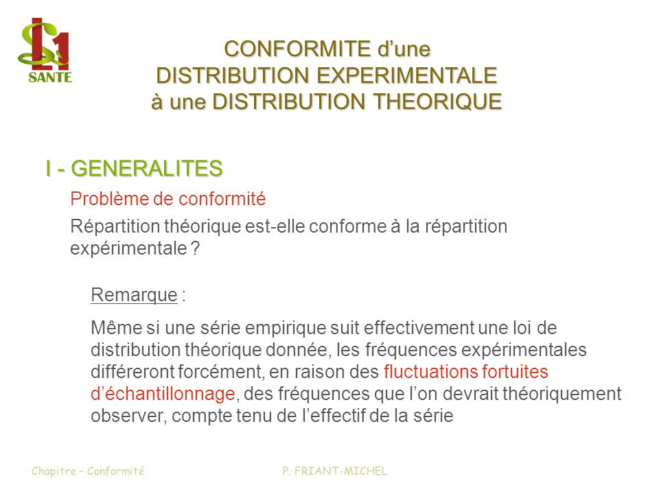 DISTRIBUTION EXPERIMENTALE à une DISTRIBUTION THEORIQUE