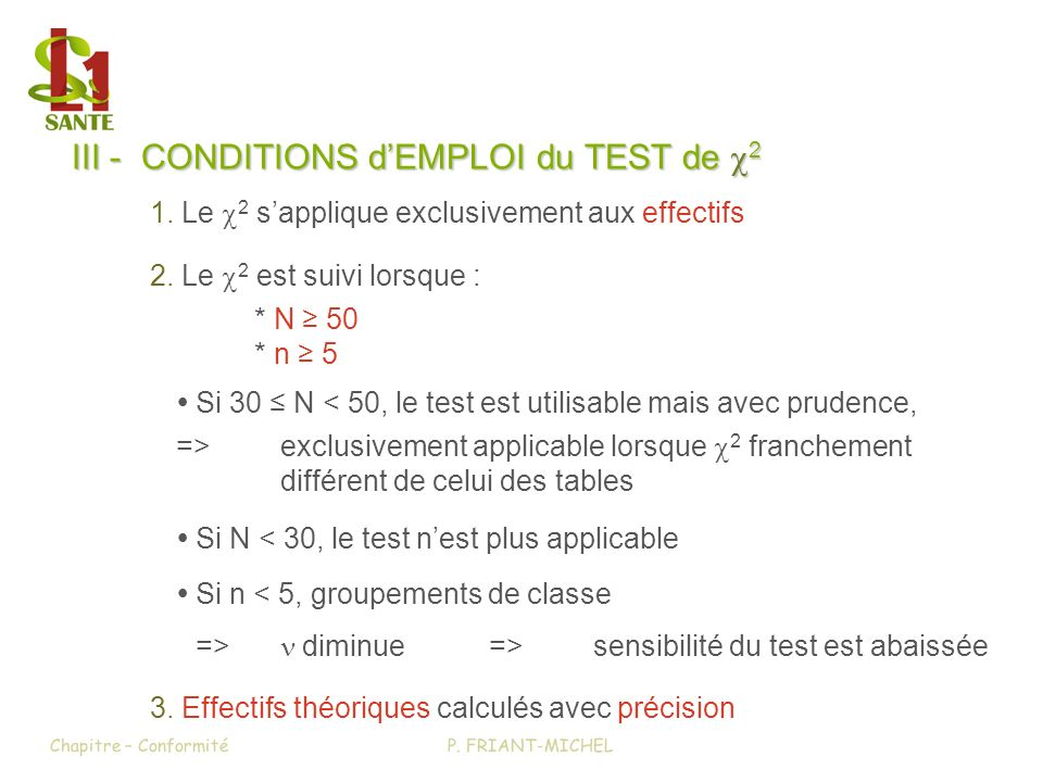 III - CONDITIONS d'EMPLOI du TEST de c2