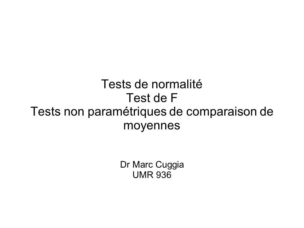 Tests non paramétriques de comparaison de moyennes