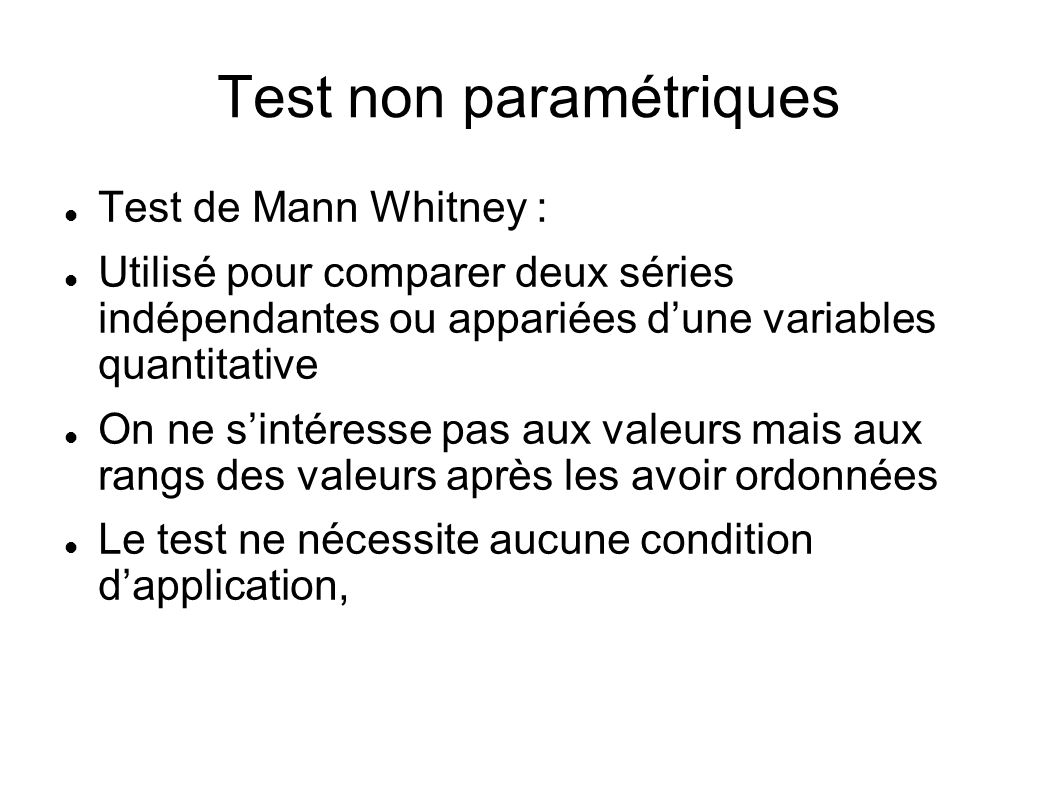 Test non paramétriques