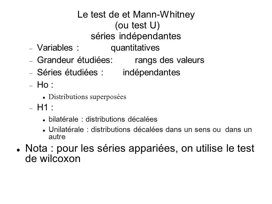 Le test de et Mann-Whitney (ou test U) séries indépendantes