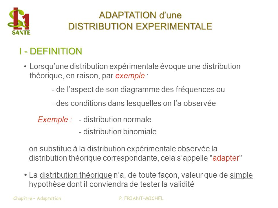 ADAPTATION d'une DISTRIBUTION EXPERIMENTALE