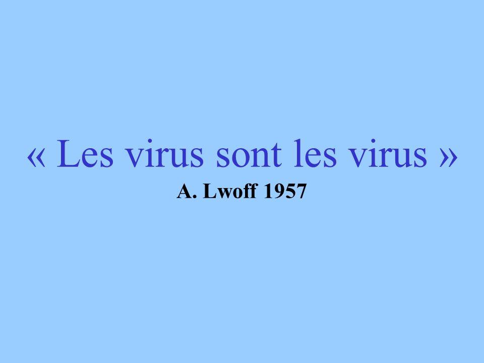 « Les virus sont les virus » A. Lwoff 1957