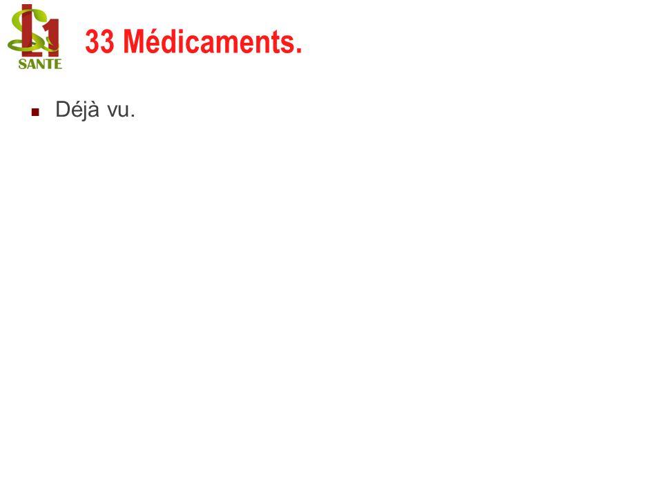 33 Médicaments. 33 Médicaments. Déjà vu. 26/03/2017 32 32