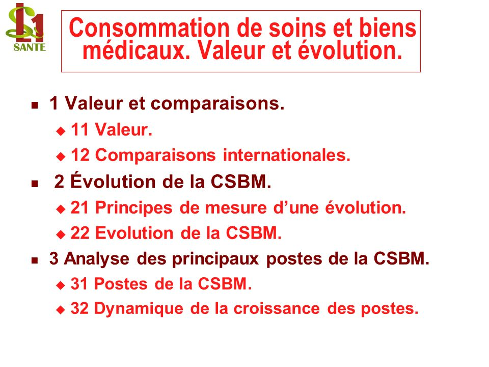 Consommation de soins et biens médicaux. Valeur et évolution.