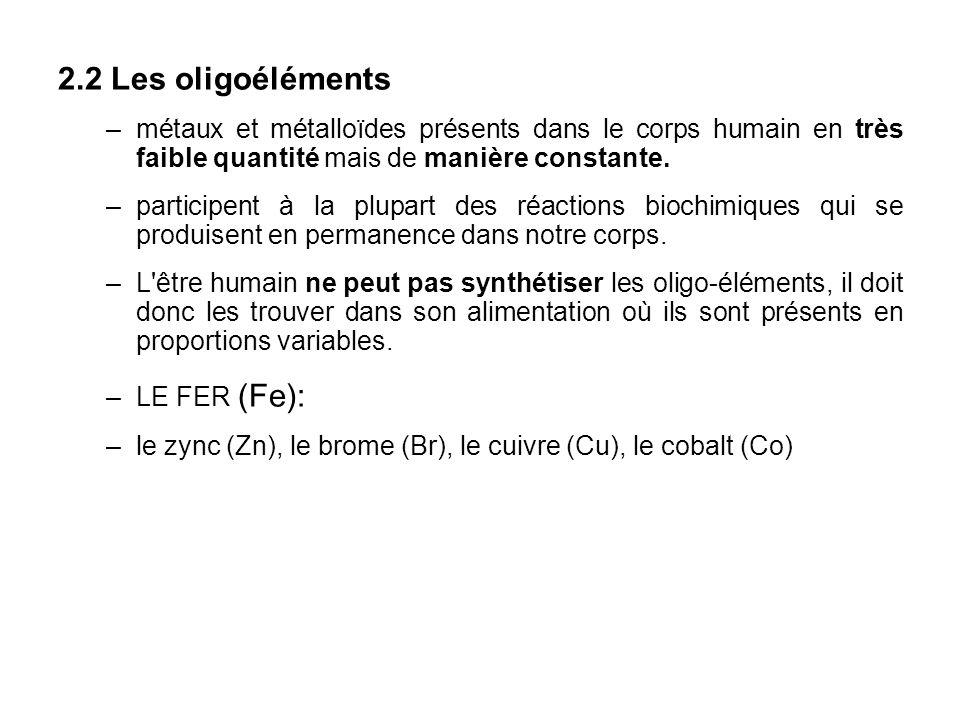 2.2 Les oligoéléments métaux et métalloïdes présents dans le corps humain en très faible quantité mais de manière constante.