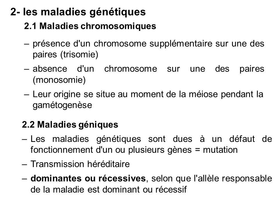 2- les maladies génétiques