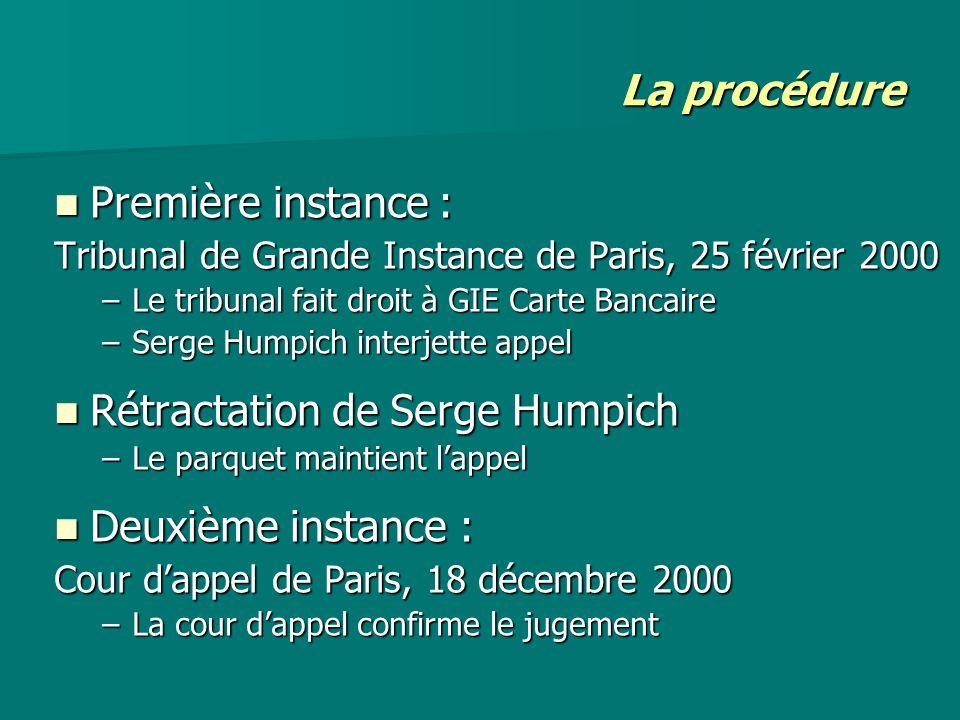 Rétractation de Serge Humpich Deuxième instance :