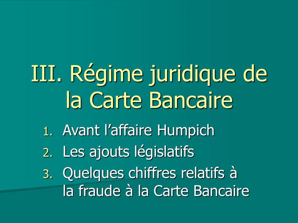 III. Régime juridique de la Carte Bancaire