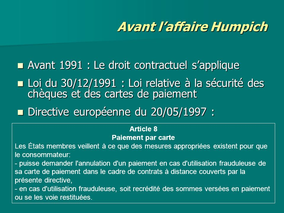 Avant l'affaire Humpich