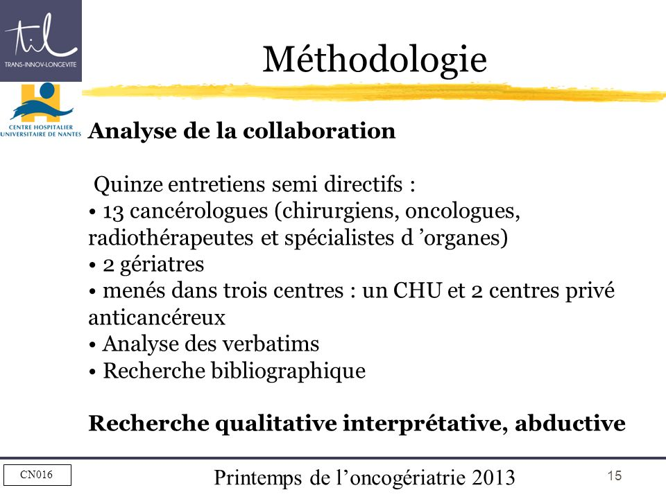 Méthodologie Analyse de la collaboration