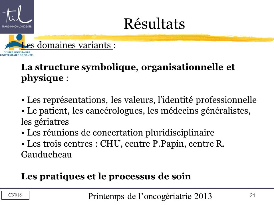 Résultats Les domaines variants :
