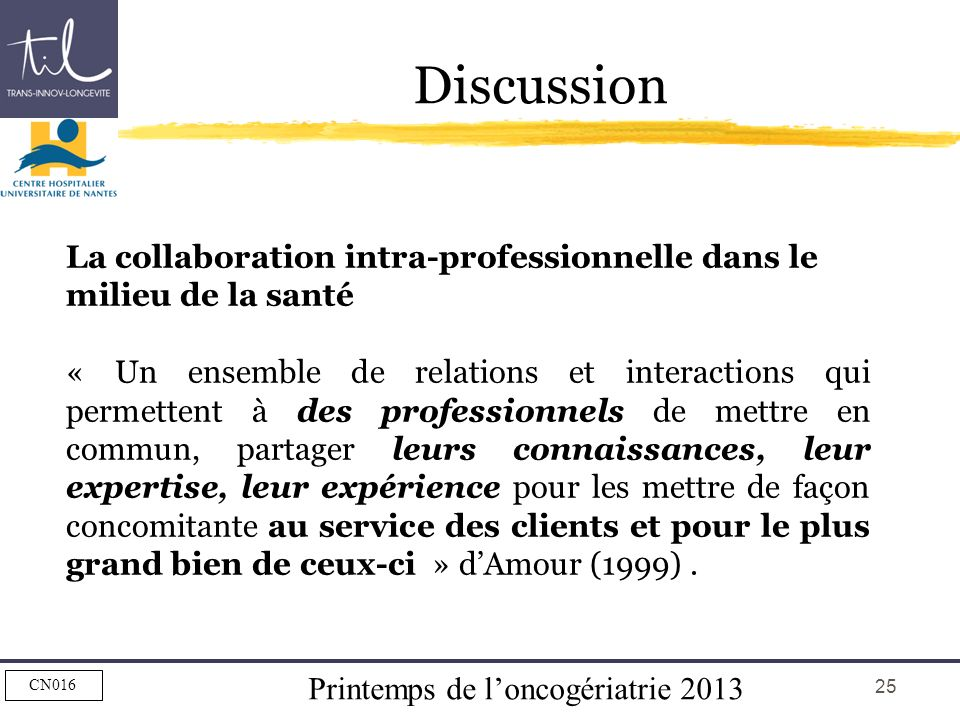 Discussion La collaboration intra-professionnelle dans le milieu de la santé.