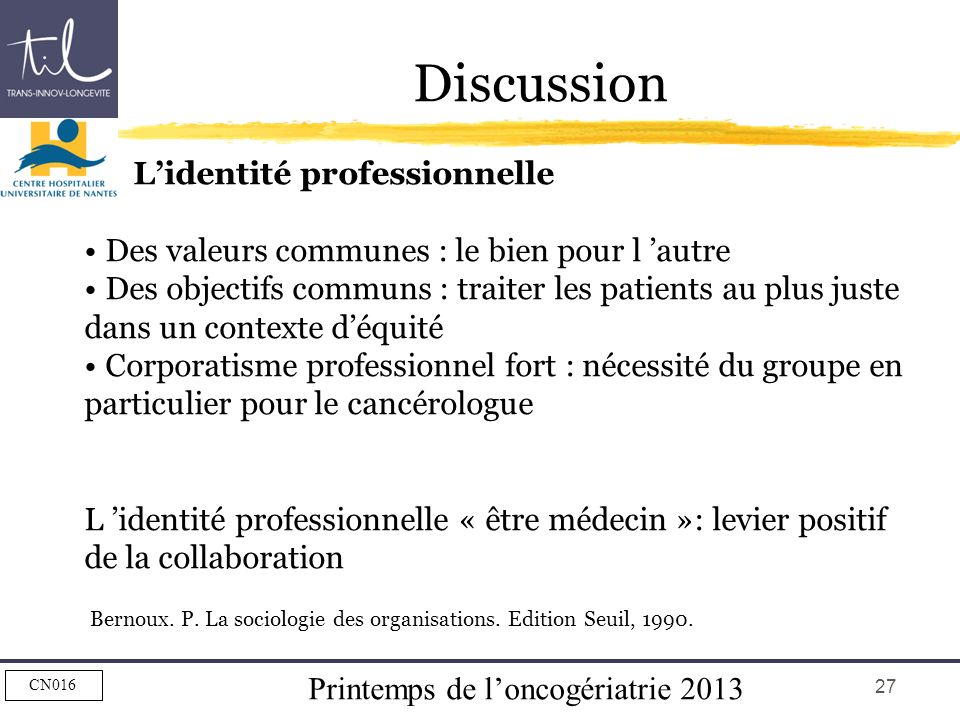 Discussion L'identité professionnelle