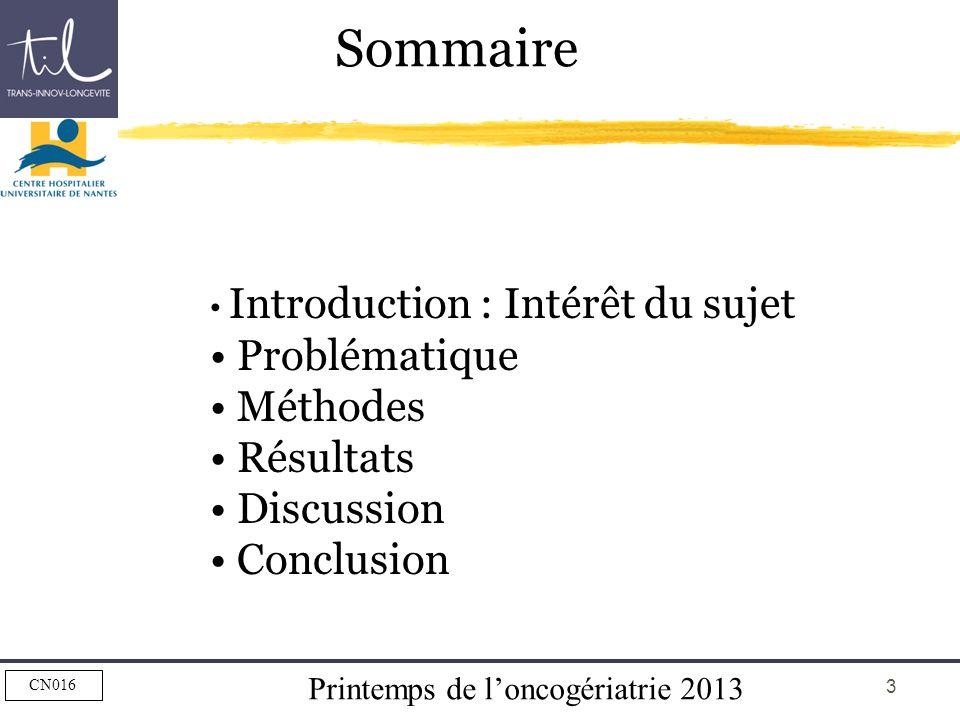 Sommaire Problématique Méthodes Résultats Discussion Conclusion
