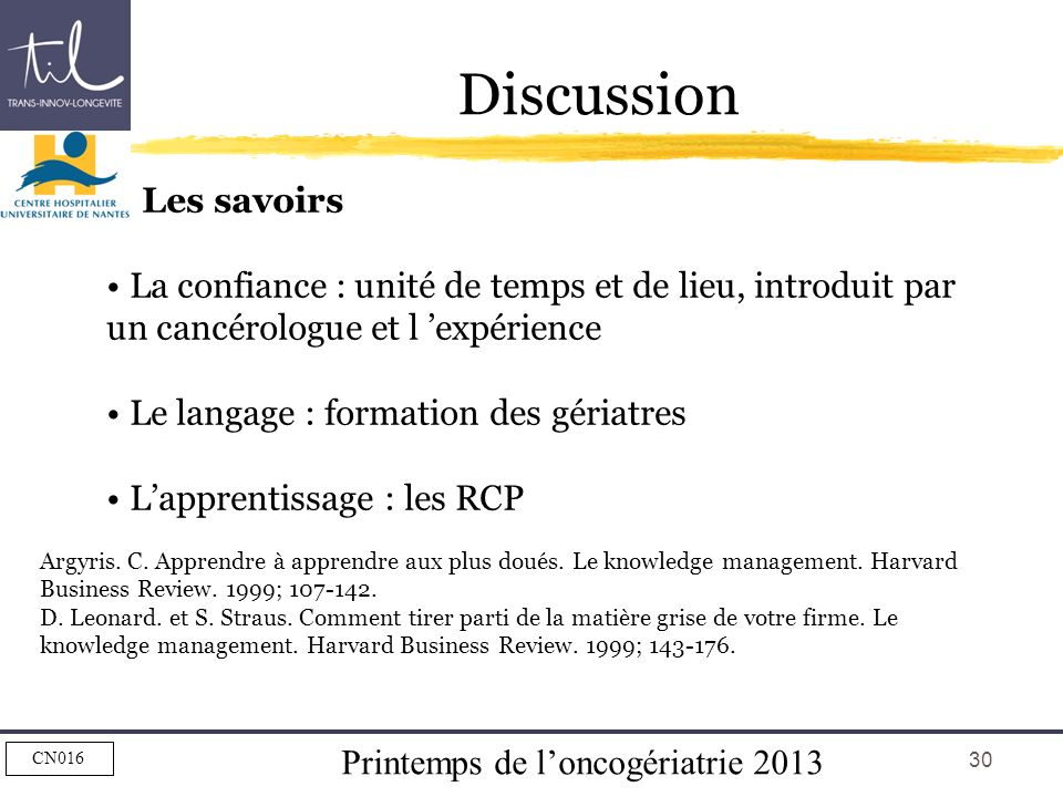 Discussion Les savoirs