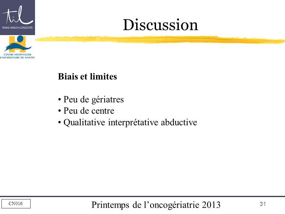 Discussion Biais et limites Peu de gériatres Peu de centre