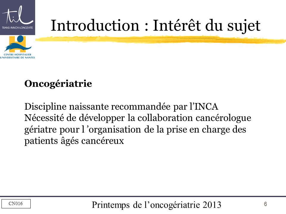 Introduction : Intérêt du sujet