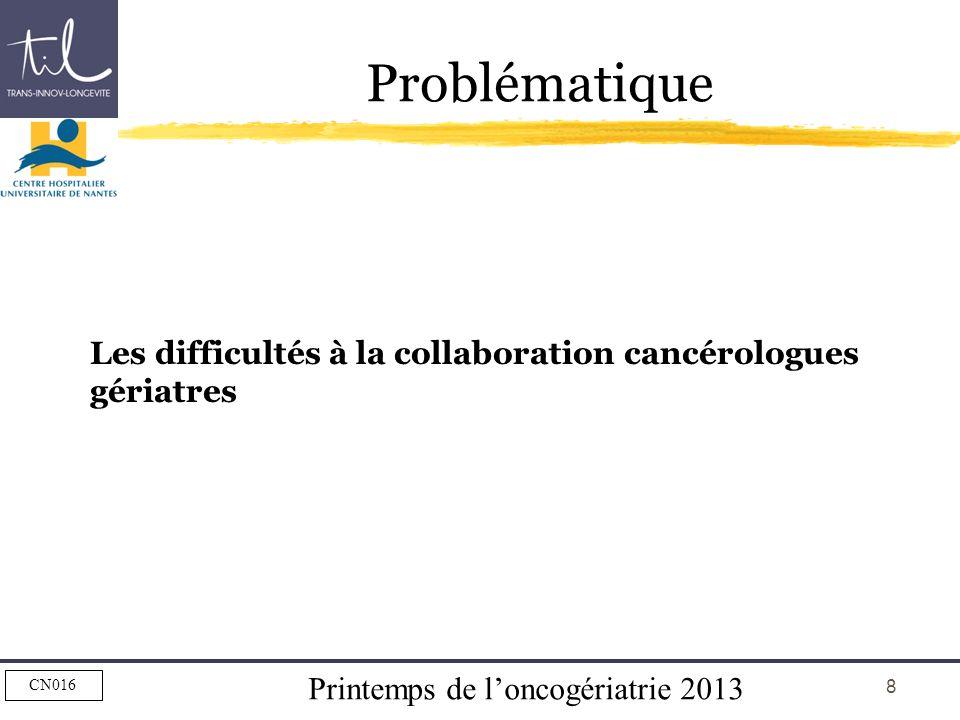 Problématique Les difficultés à la collaboration cancérologues gériatres.