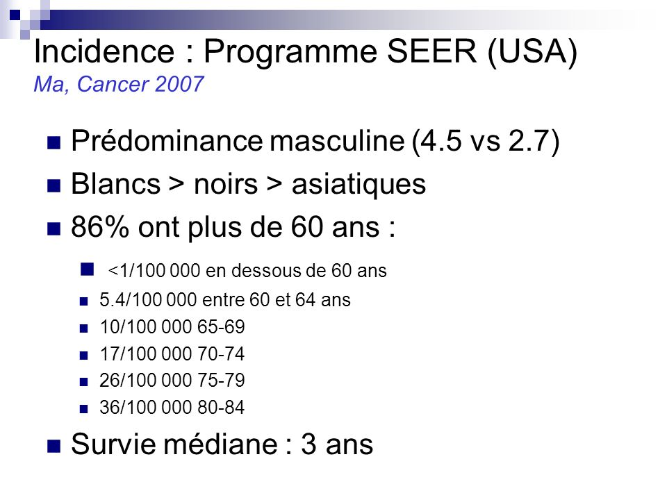 Incidence : Programme SEER (USA)
