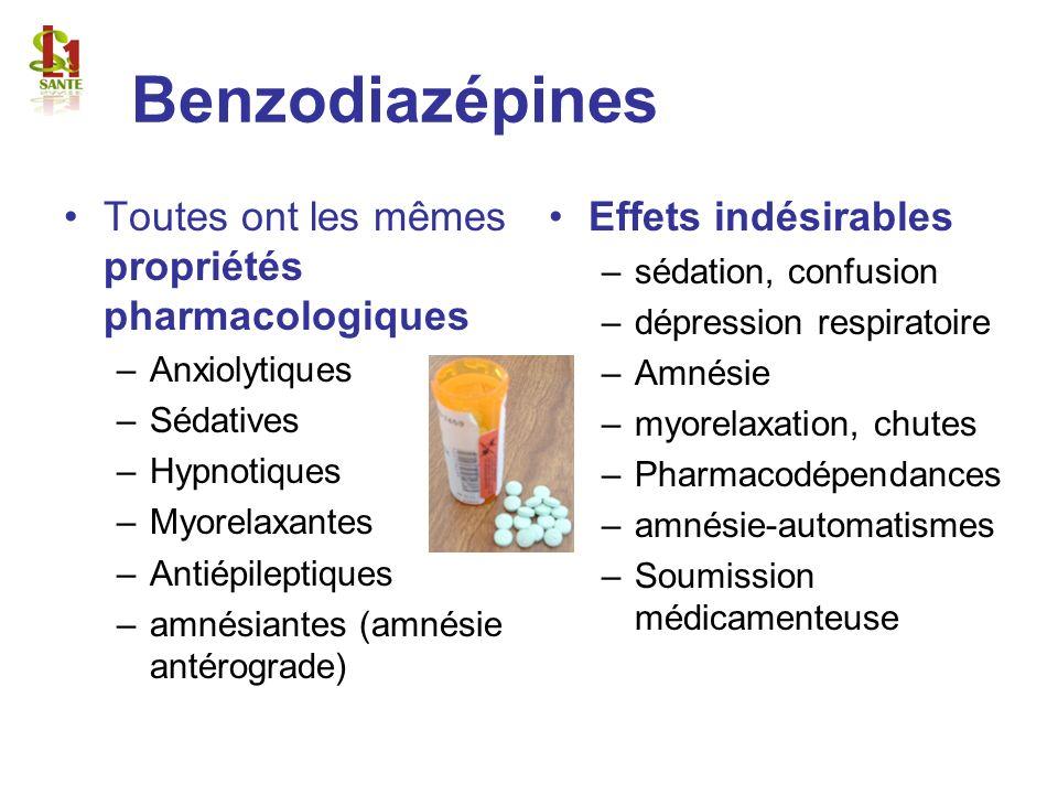Benzodiazépines Toutes ont les mêmes propriétés pharmacologiques