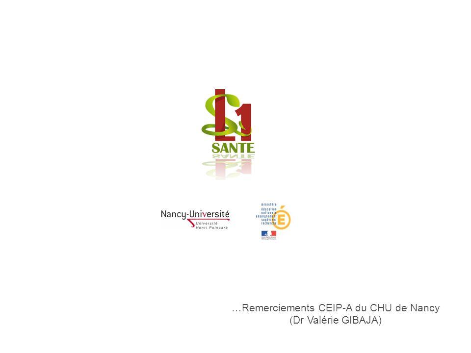 …Remerciements CEIP-A du CHU de Nancy (Dr Valérie GIBAJA)