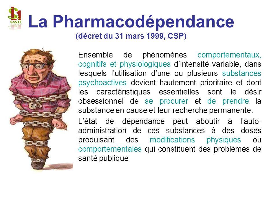 La Pharmacodépendance (décret du 31 mars 1999, CSP)
