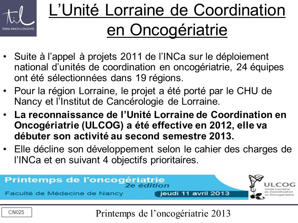 L'Unité Lorraine de Coordination en Oncogériatrie