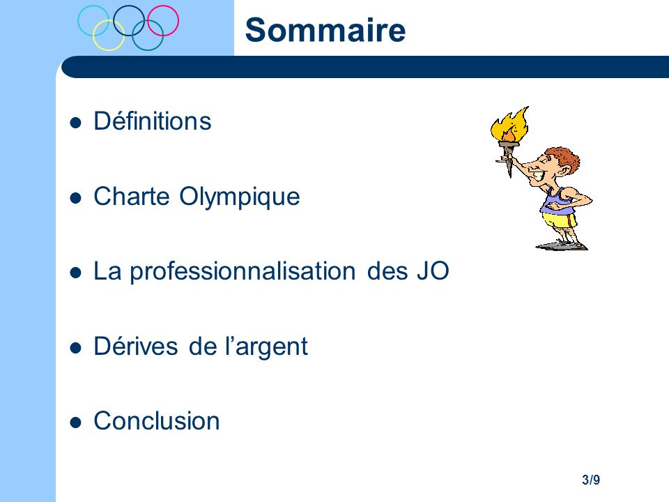 Sommaire Définitions Charte Olympique La professionnalisation des JO