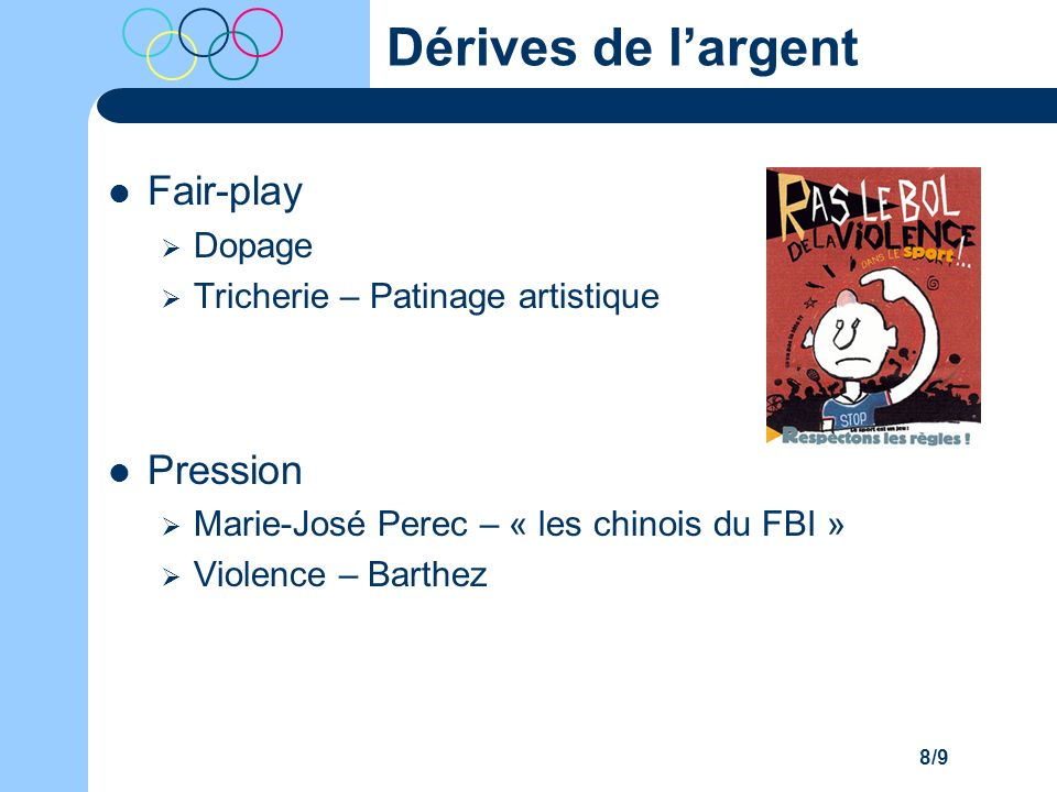 Dérives de l'argent Fair-play Pression Dopage