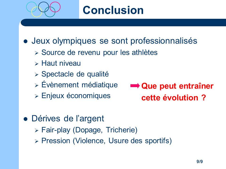 Conclusion Jeux olympiques se sont professionnalisés