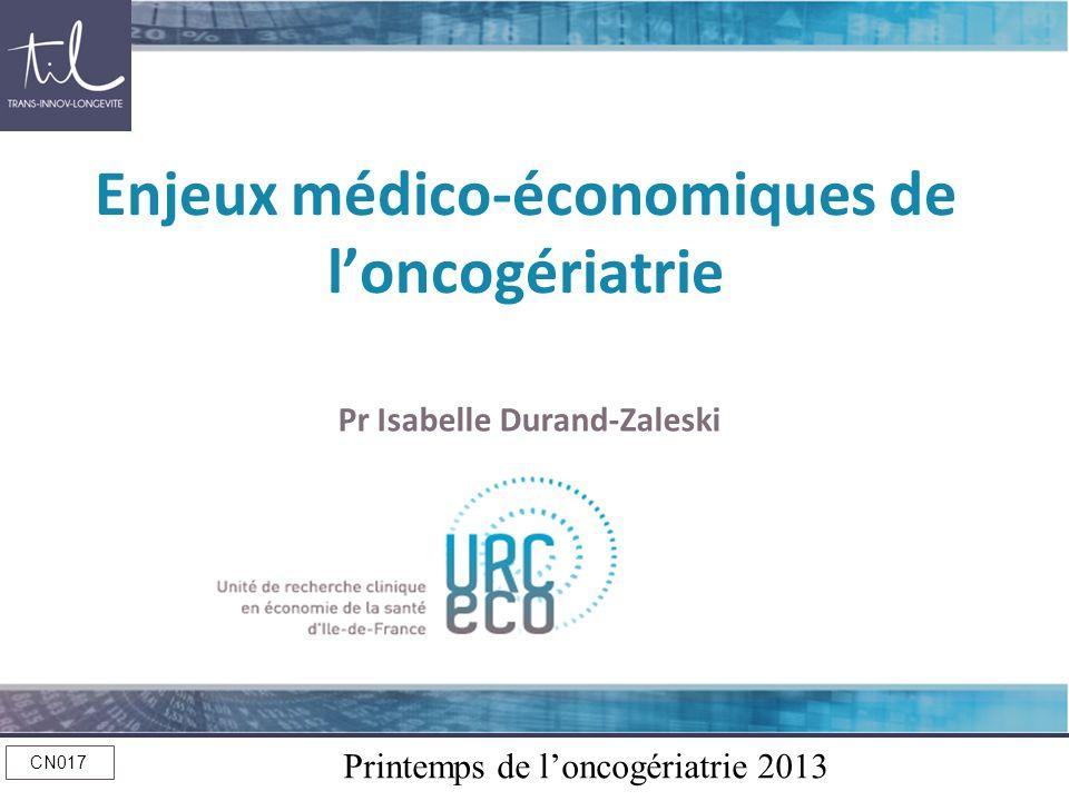 Enjeux médico-économiques de l'oncogériatrie