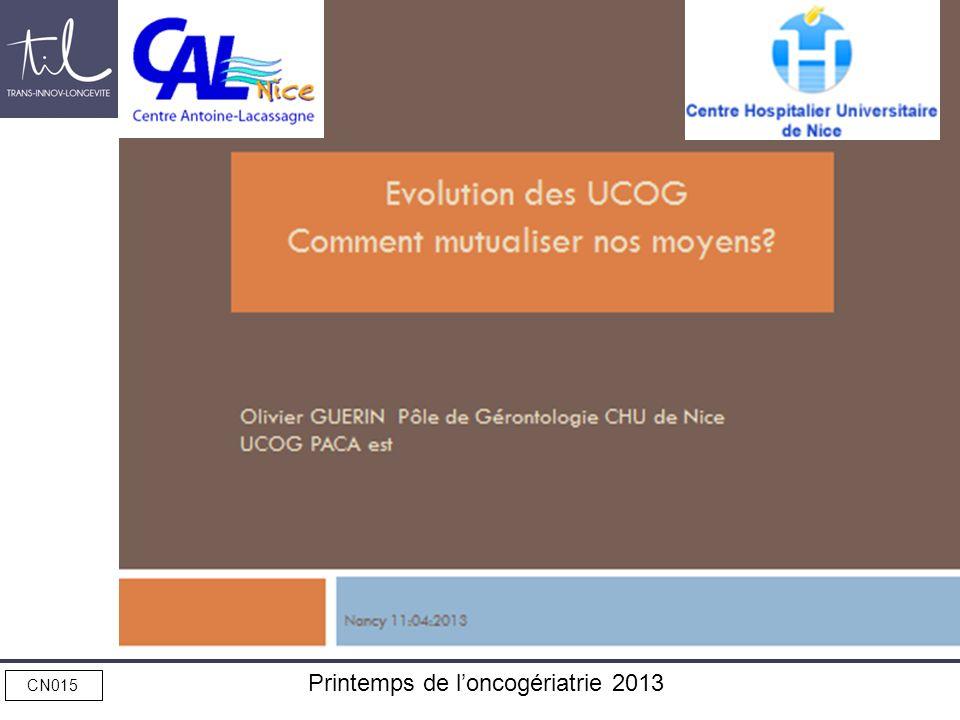 Evolution des UCOG Comment mutualiser nos moyens