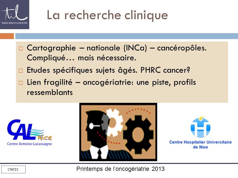 La recherche clinique Cartographie – nationale (INCa) – cancéropôles. Compliqué… mais nécessaire. Etudes spécifiques sujets âgés. PHRC cancer