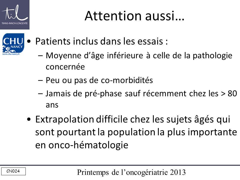 Attention aussi… Patients inclus dans les essais :