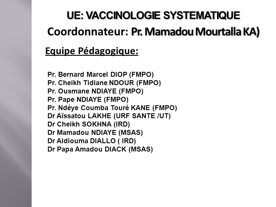 UE: VACCINOLOGIE SYSTEMATIQUE Coordonnateur: Pr. Mamadou Mourtalla KA)