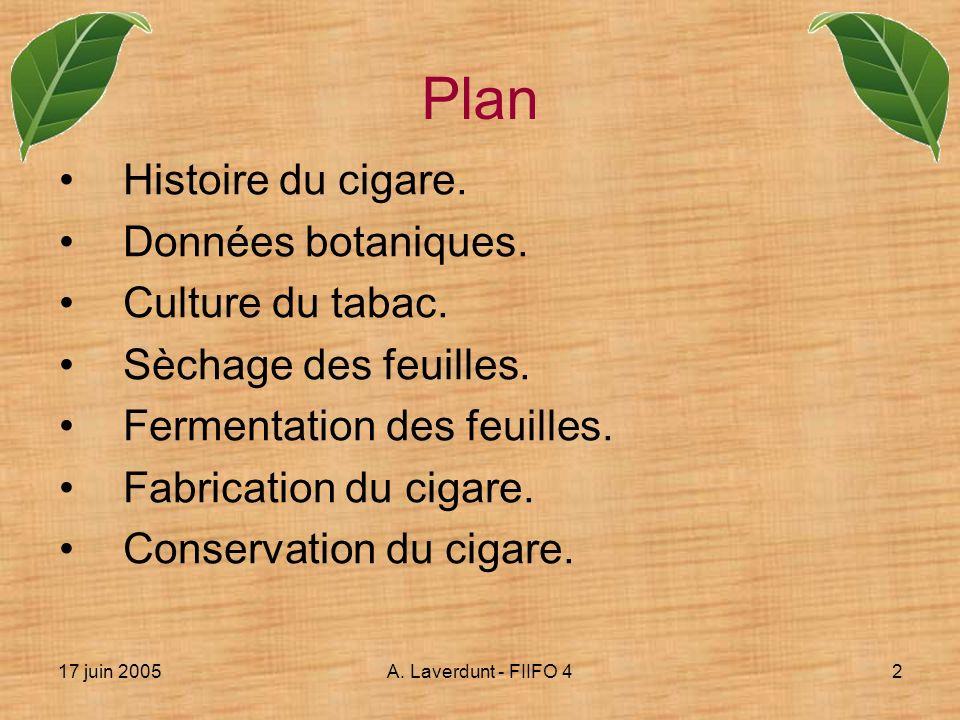 Plan Histoire du cigare. Données botaniques. Culture du tabac.