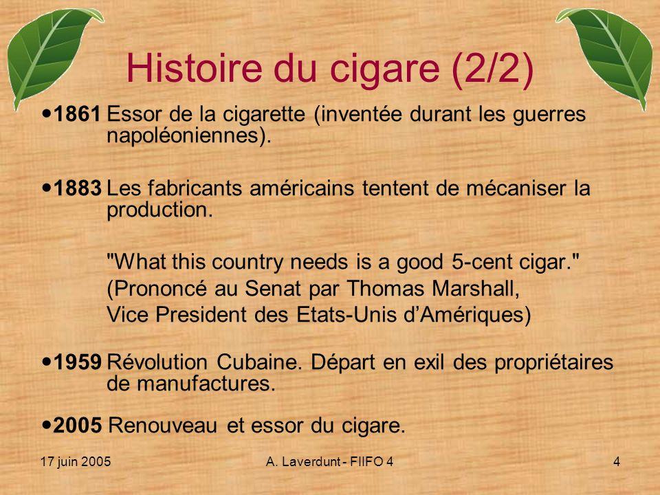 Histoire du cigare (2/2) 1861 Essor de la cigarette (inventée durant les guerres napoléoniennes).