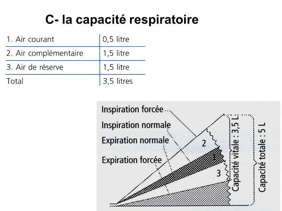 C- la capacité respiratoire