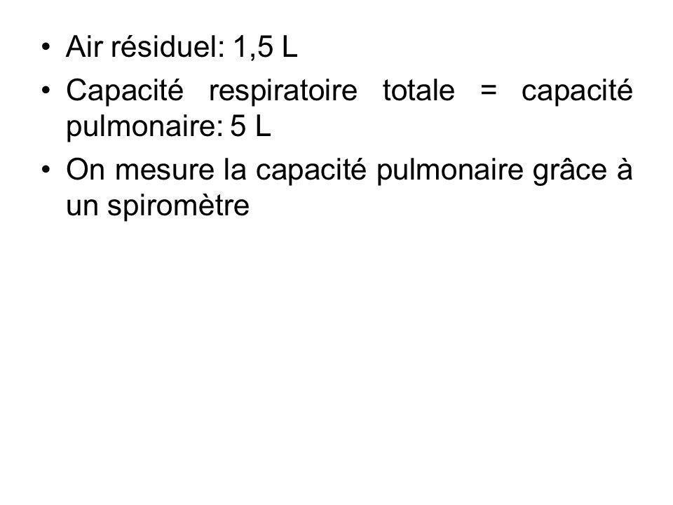 Air résiduel: 1,5 L Capacité respiratoire totale = capacité pulmonaire: 5 L.
